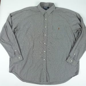 Gray Long Sleeve Button Front Check Shirt